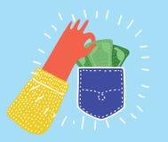 Ejemplo plano del carterista aislado en blanco La mano humana toma efectivo del dinero del bolsillo libre illustration