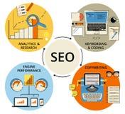 Ejemplo plano del concepto de Infographic de SEO Imagenes de archivo