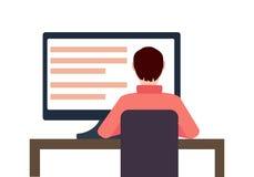 Ejemplo plano del concepto del lugar de trabajo del vector Hombre que trabaja en el equipo de escritorio stock de ilustración