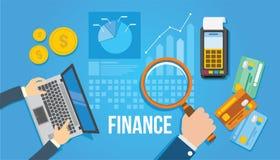Ejemplo plano del diseño de la gestión financiera Imagen de archivo