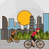 Ejemplo plano del diseño del lifesyle de la bici, edita Imagen de archivo libre de regalías
