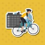 Ejemplo plano del diseño del lifesyle de la bici, edita Imágenes de archivo libres de regalías