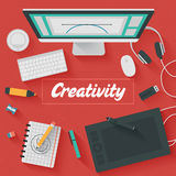 Ejemplo plano del diseño: Oficina creativa Foto de archivo libre de regalías