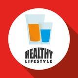 Ejemplo plano del diseño sano de la forma de vida Foto de archivo
