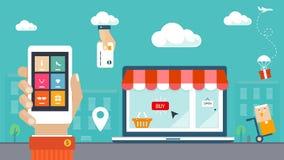 Ejemplo plano del diseño. Comercio electrónico, compras y entrega Imagenes de archivo
