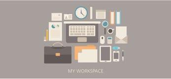 Ejemplo plano del espacio de trabajo moderno y clásico Fotografía de archivo libre de regalías