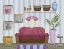 Ejemplo plano del estilo del interior acogedor de la sala de estar libre illustration