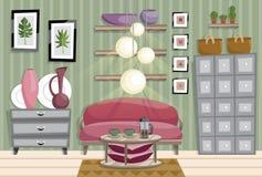 Ejemplo plano del estilo del interior de la sala de estar libre illustration