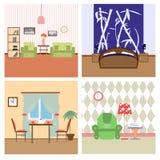 Ejemplo plano del lineart del colorfull de los interiores de la casa Imágenes de archivo libres de regalías