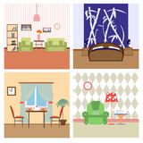 Ejemplo plano del lineart del colorfull de los interiores de la casa libre illustration