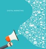 Ejemplo plano del márketing de Digitaces Mano que sostiene el megáfono Imágenes de archivo libres de regalías
