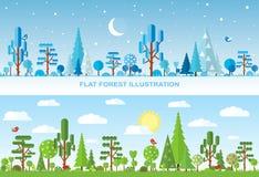 Ejemplo plano del árbol del vector, bosque Imagenes de archivo