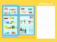 Ejemplo plano del refrigerador del estilo de la lista de compras Foto de archivo libre de regalías