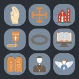 Ejemplo plano del religionism del vector de la religión del cristianismo de la rogación santa tradicional de la silueta de la mue libre illustration