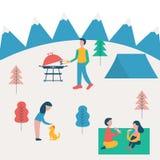 Ejemplo plano del vector de la familia en comida campestre Dibujo del vector del tiempo del gasto de la familia junto al aire lib ilustración del vector