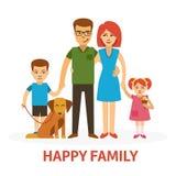 Ejemplo plano del vector de la familia feliz con la madre, el padre, la hija, el hijo y el perro en estilo plano aislados en blan Fotos de archivo