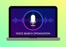 Ejemplo plano del vector de la optimización de Voice Search stock de ilustración