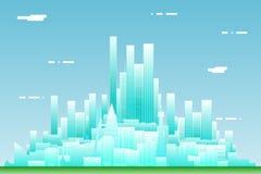 Ejemplo plano del vector de la plantilla del icono del concepto de diseño del paisaje de la ciudad de Real Estate de verano del f Foto de archivo