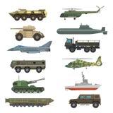 Ejemplo plano del vector de la técnica de transporte de la armadura militar del equipo aislado en el fondo blanco Foto de archivo libre de regalías