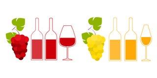 Ejemplo plano del vector de las botellas de vino ilustración del vector