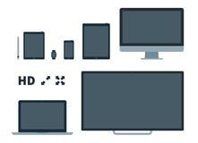 Ejemplo plano del vector de las pantallas Imágenes de archivo libres de regalías