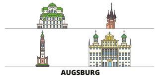 Ejemplo plano del vector de las señales de Alemania, Augsburg Línea ciudad con vistas famosas del viaje, horizonte de Alemania, A stock de ilustración