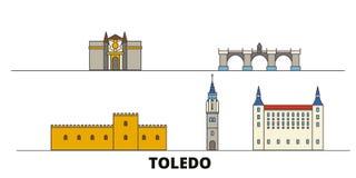 Ejemplo plano del vector de las señales de España, Toledo Línea ciudad con vistas famosas del viaje, horizonte, diseño de España, stock de ilustración