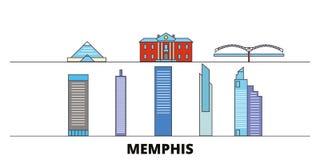 Ejemplo plano del vector de las señales de Estados Unidos, Memphis Línea ciudad de Estados Unidos, Memphis con vistas famosas del ilustración del vector