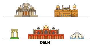 Ejemplo plano del vector de las señales de la India, Delhi Línea ciudad con vistas famosas del viaje, horizonte, diseño de la Ind libre illustration