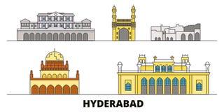 Ejemplo plano del vector de las señales de la India, Hyderabad Línea ciudad con vistas famosas del viaje, horizonte de la India,  stock de ilustración