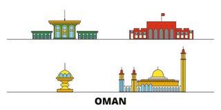 Ejemplo plano del vector de las señales de Omán, Muscat Línea ciudad con vistas famosas del viaje, horizonte, diseño de Omán, Mus ilustración del vector