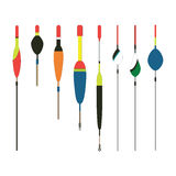 Ejemplo plano del vector de los iconos de los bobbers de la pesca Pescando las herramientas, pescando las sacudidas, pescando ico Imagen de archivo