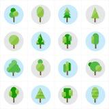 Ejemplo plano del vector de los iconos del árbol Foto de archivo