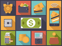 Ejemplo plano del vector de los iconos del diseño de las finanzas personales Imagen de archivo libre de regalías