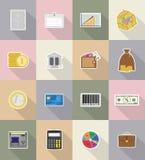Ejemplo plano del vector de los iconos del negocio y de las finanzas Imagen de archivo libre de regalías