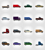 Ejemplo plano del vector de los iconos del transporte Fotografía de archivo libre de regalías