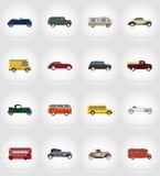 Ejemplo plano del vector de los iconos del viejo transporte retro Fotografía de archivo libre de regalías