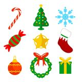 Ejemplo plano del vector de los iconos de la Navidad Imagen de archivo libre de regalías