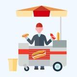 Ejemplo plano del vector de los perritos calientes del vendedor para su diseño ilustración del vector
