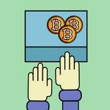 Ejemplo plano del vector de una mano humana Bitcoin Crypto-moneda de la montaña Monedas de oro con el emblema de bitcoins Fotos de archivo libres de regalías