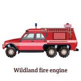 Ejemplo plano del vector del coche de bomberos del yermo stock de ilustración