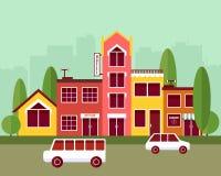 Ejemplo plano del vector del diseño de la calle de la ciudad