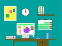 Ejemplo plano del vector del diseño de la oficina moderna Foto de archivo libre de regalías