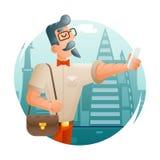 Ejemplo plano del vector del diseño del fondo de la ciudad de Cartoon Character Icon del hombre de negocios de Selfie del teléfon Fotos de archivo