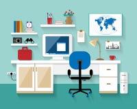 Ejemplo plano del vector del diseño moderno del lugar de trabajo en sitio ¿? interior reative del sitio de la oficina Estilo de M Imágenes de archivo libres de regalías