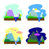 Ejemplo plano del vector del paisaje día y noche ilustración del vector
