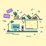 Ejemplo plano del vector del diseño del lugar de trabajo ilustración del vector