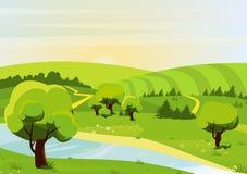 Ejemplo plano del vector del estilo de la historieta del paisaje con los bosques, las colinas, los campos, el río y los rastros O libre illustration