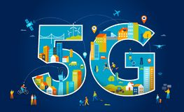 ejemplo plano del vector 5G Gente con los dispositivos m?viles en la ciudad elegante stock de ilustración