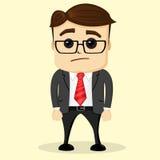 Ejemplo plano del vector Hombre de negocios pensativo Imágenes de archivo libres de regalías
